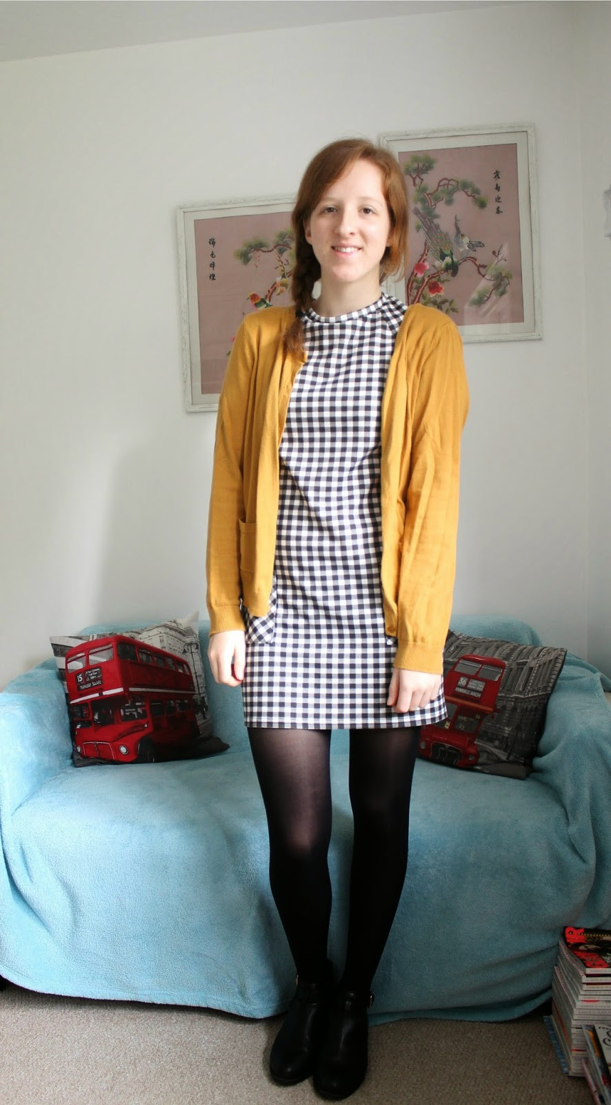 OOTD: 60s Gingham Dress and Fluffy Coat