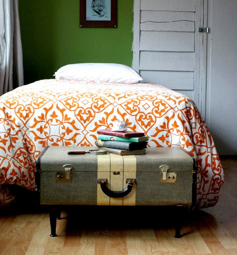 Vintage Suitcase as DIY Extra Bedroom Storage