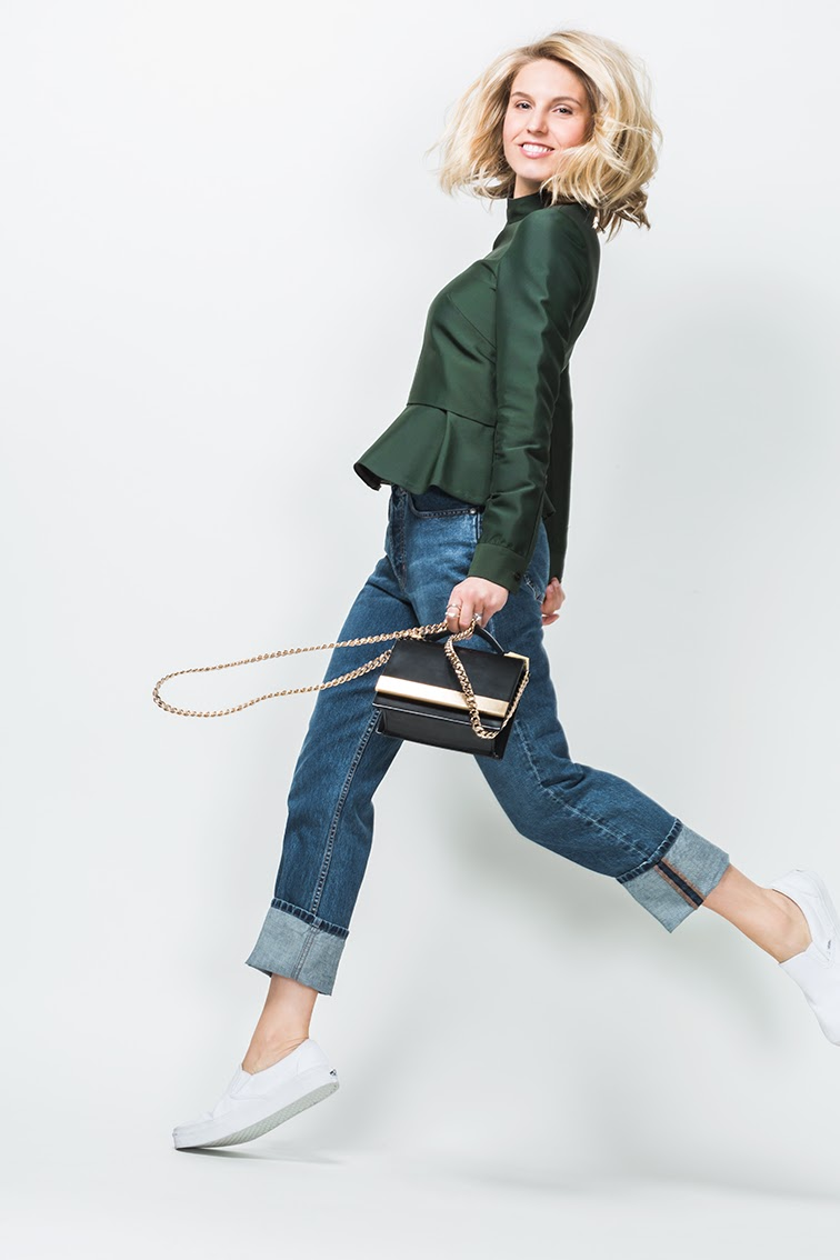 Fashion Over Reason X Keaton row Bally top, MiH jeans, Vans sneakers