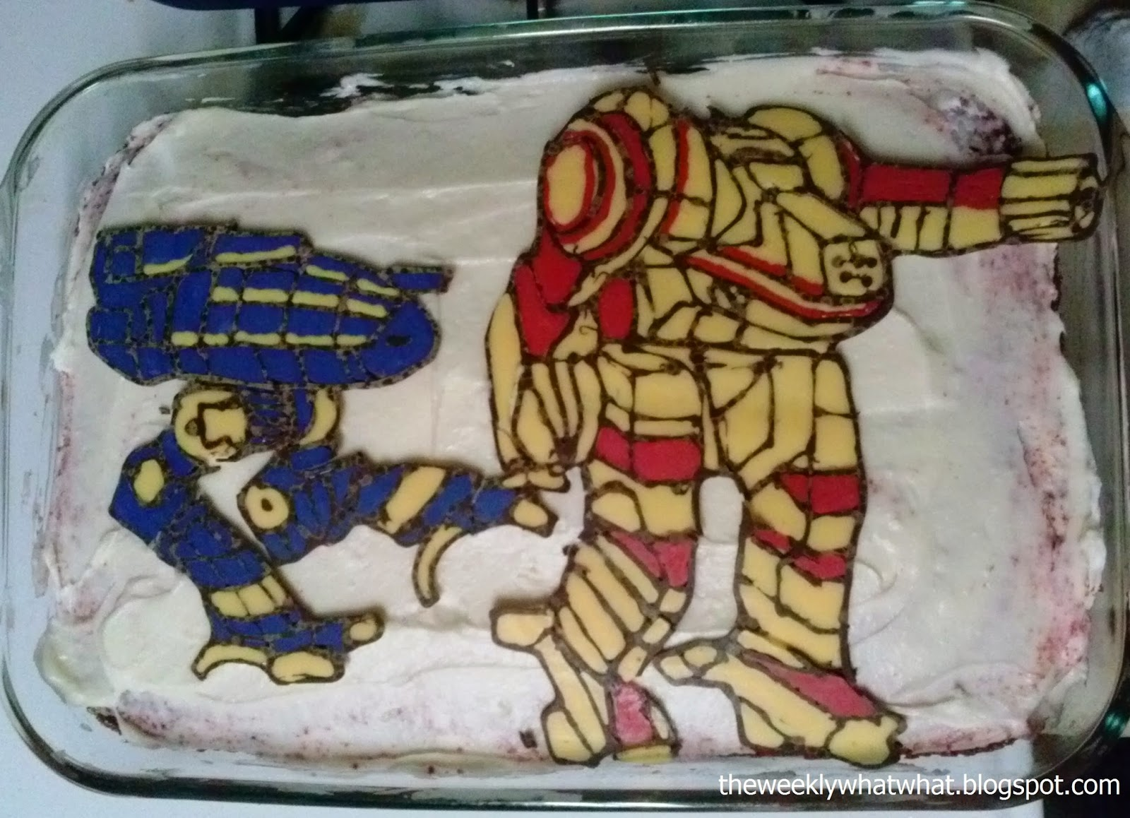 Battletech Cake using Color Flow Technique -- Catapult and Dragon
