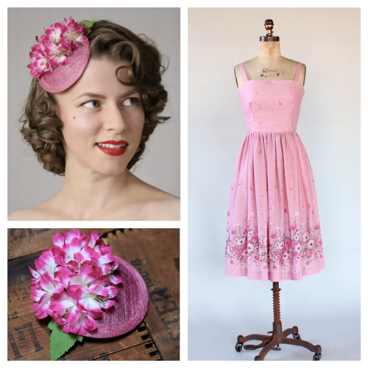 Cosmo Curtsy - 1970s floral with vintage millinery headpiece #vintage #dress #1970s #hair #pink