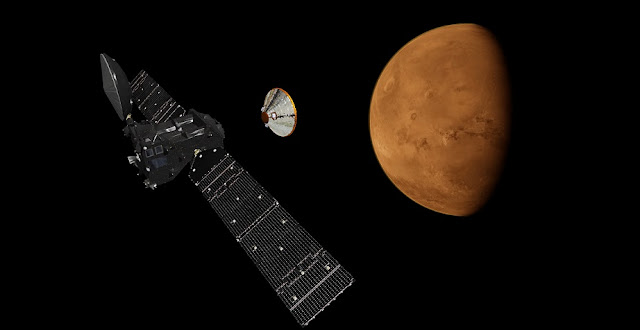 Artist's impression depicting the separation of the ExoMars 2016 entry, descent and landing demonstrator module, named Schiaparelli, from the Trace Gas Orbiter, and heading for Mars. Credit: ESA/ATG medialab