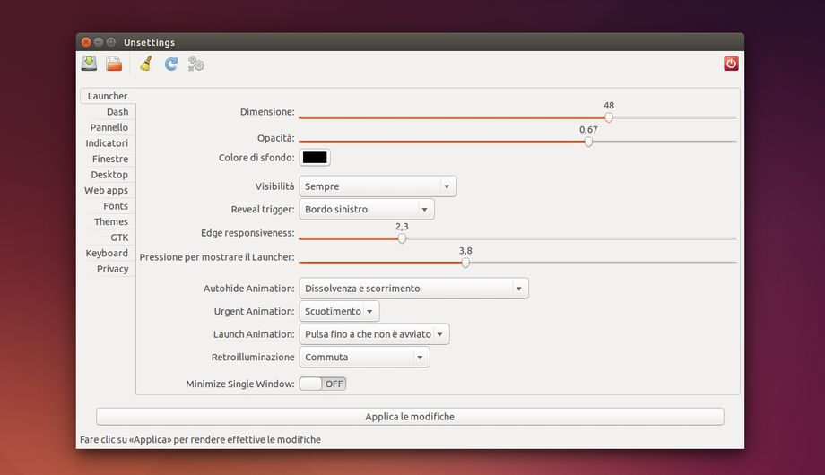 Unsettings in Ubuntu
