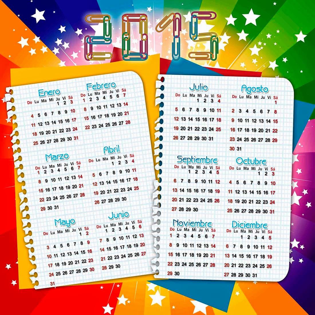 Fondo estrellado con hojas de cuaderno y calendario 2015