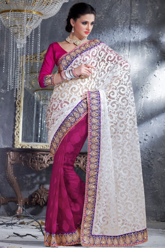 Fashion Fok Indian Wedding Bridal Embroidered Reception Saree Designs Beautiful Casual Party
