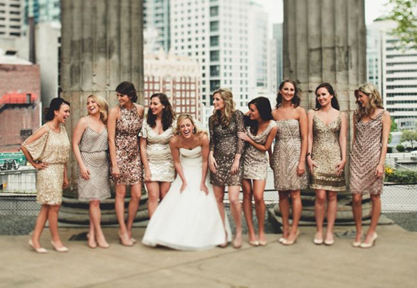 blingbling bridesmaids dresses