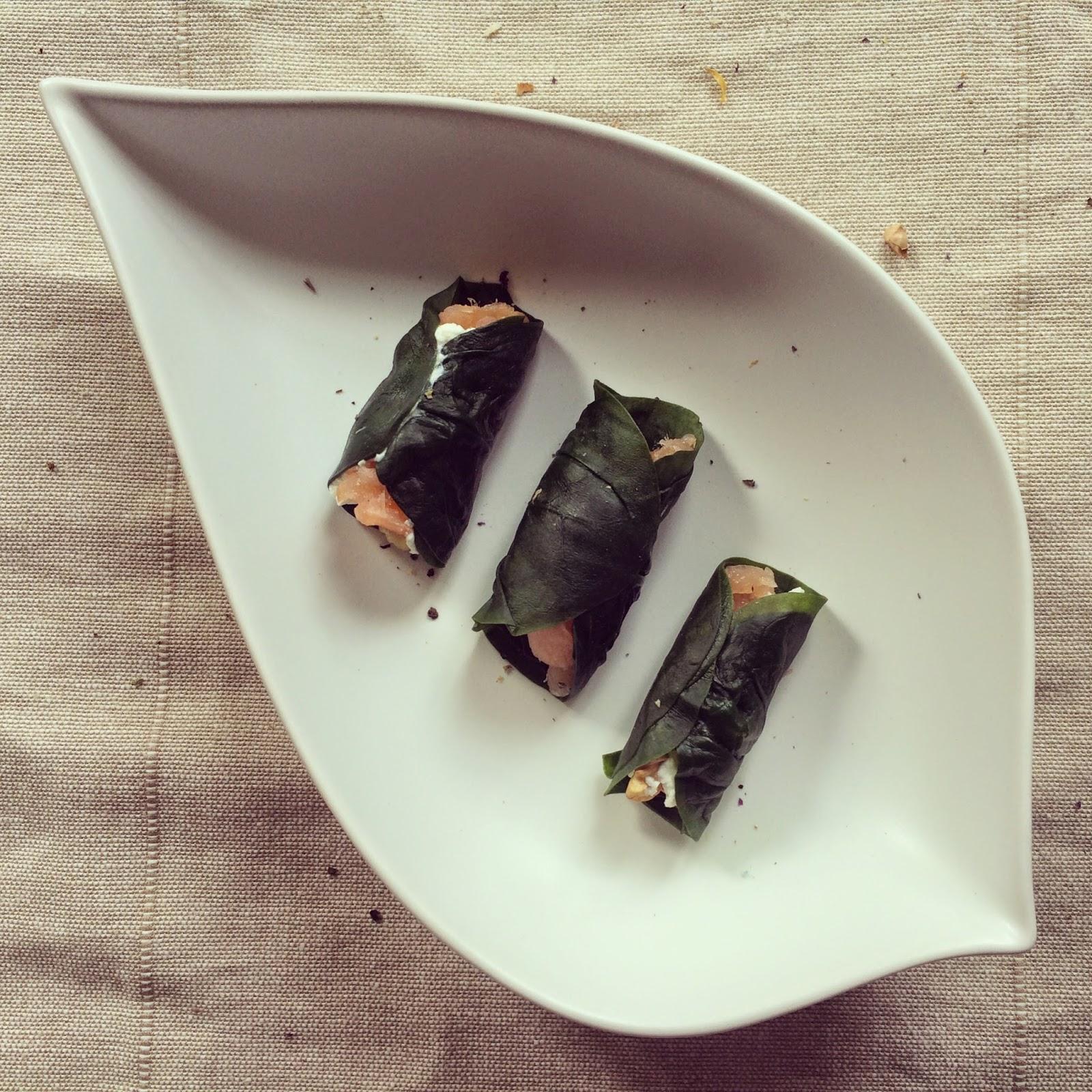 wraps épinards saumon fumé noix