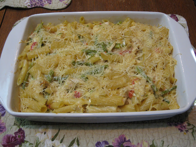 ... Time, Cottage and Garden: CHICKEN ASPARAGUS PARMESAN PENNE CASSEROLE