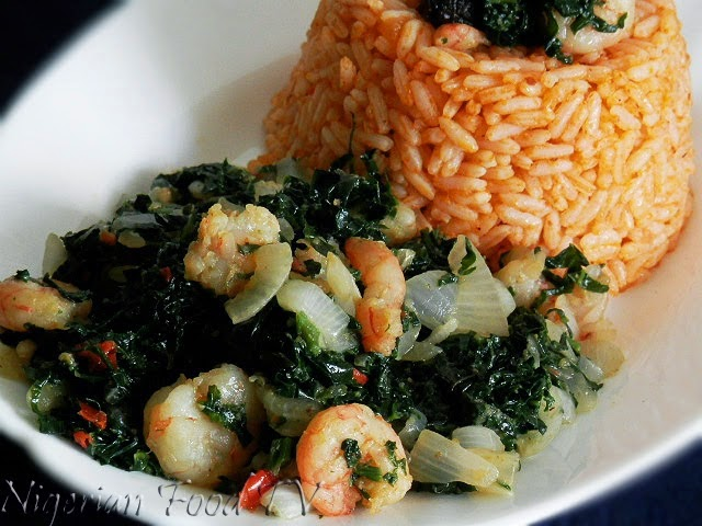 jollof rice and veggie prawns