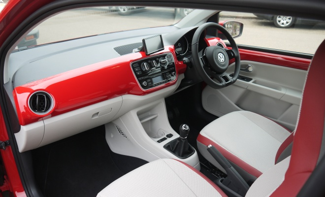 VW High Up interior in red and pale grey
