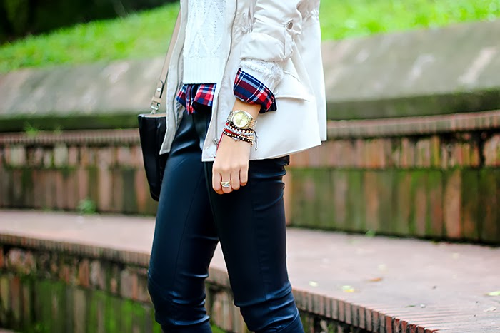 leather pants, black and white, plaid shirt, layering, fall fashion, outfit