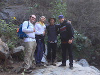 Chris and friends at Fish Canyon Falls, Angeles National Forest, December 24, 2015