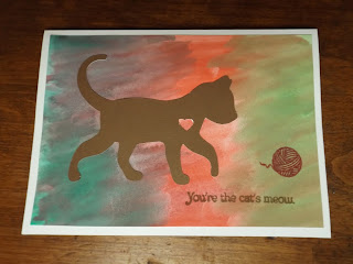 Watercolor Card With Cat Theme