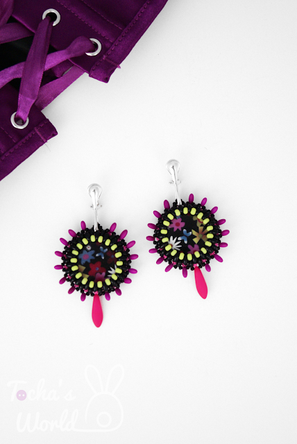beaded earrings, beaded jewellery, beadwork, neon beads, twin beads, Preciosa,