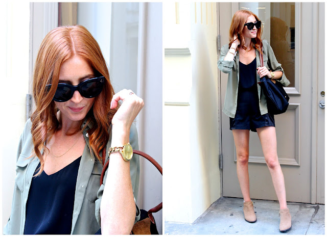 Army green blouse, shorts and booties for fall