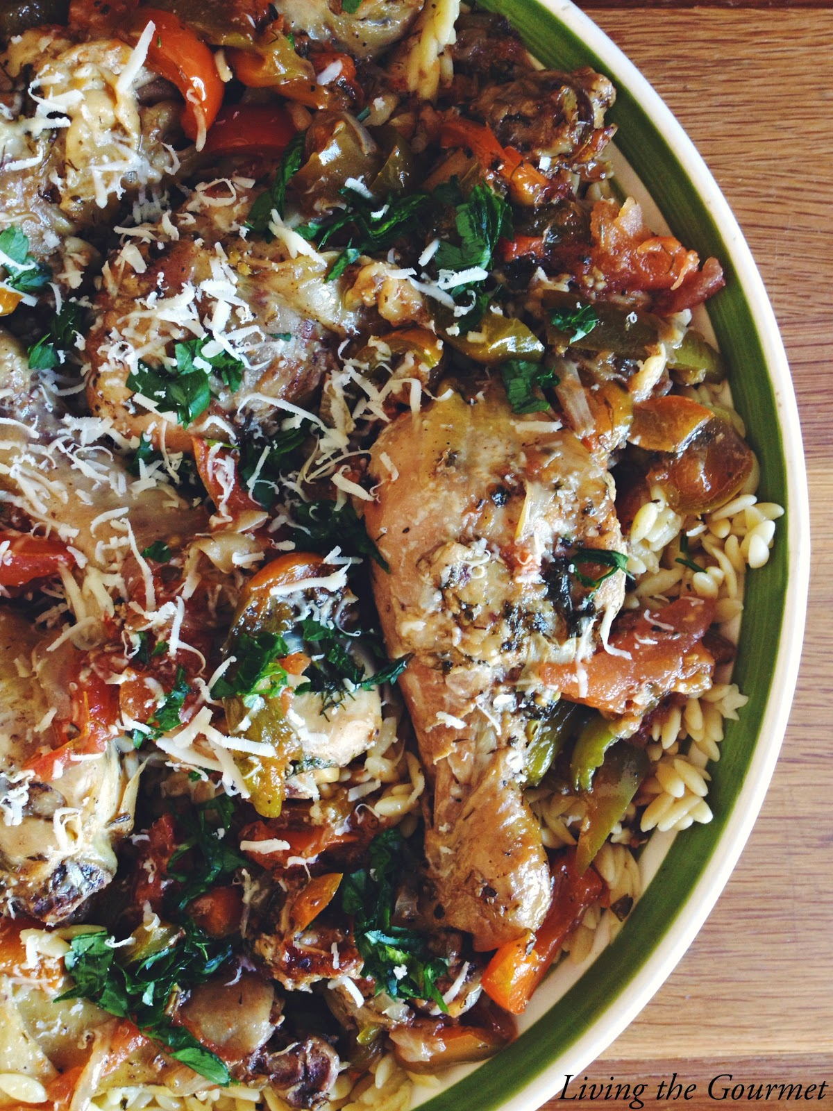 Greek Style Chicken with Orzo, shared by Living the Gourmet