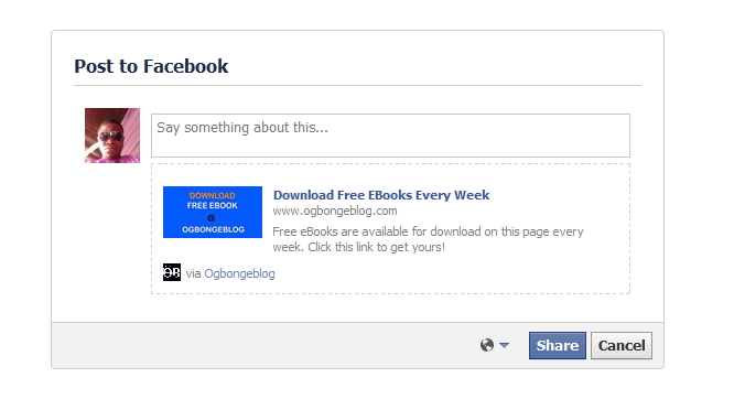 facebook feed dialog with link