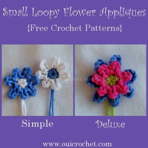 Oui Crochet Small Loopy Flowers Appliques Free Crochet Pattern
