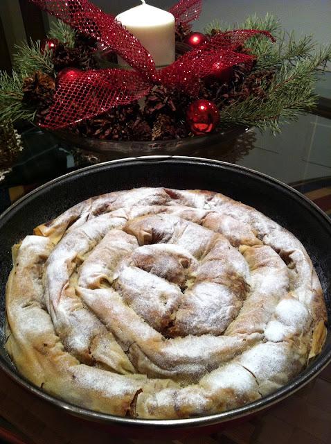 Pasta filo rellena de calabaza y nueces