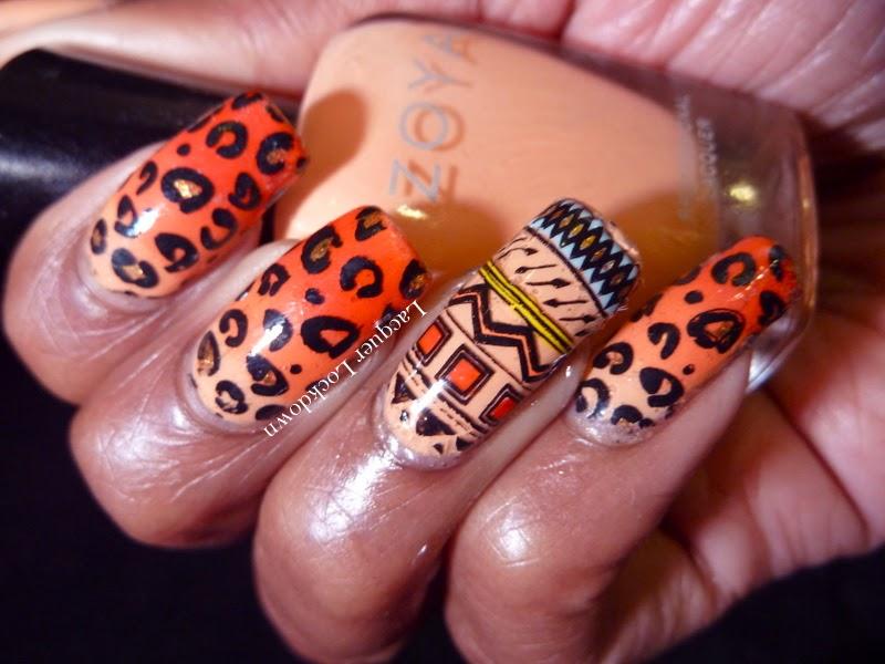 Lacquer Lockdown - Marianne Nails, MN13, leopard print, nail art stamping blog, Zoya Thandie, Zoya Cole, Essie Geranium, gradient nail art, summer nail art, cute nail art ideas, diy nail art, summer nail art ideas, Mundo de Unas #1, mundo de unas stamping polish, nail art stamping blog, nail art stamping, tribal nail art