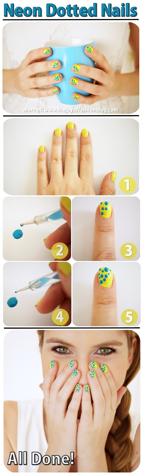 Step by Step tutorial on how to make these cute neon nails!