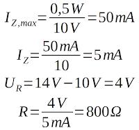Zener diode example calculation series resistor