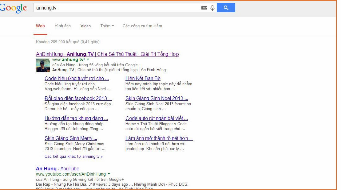 Hướng dẫn cách tạo sitelink cho blogger,website