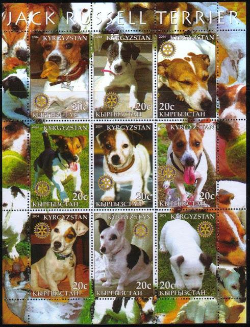 2004年キルギスタン共和国 ジャック・ラッセル・テリアの切手シート