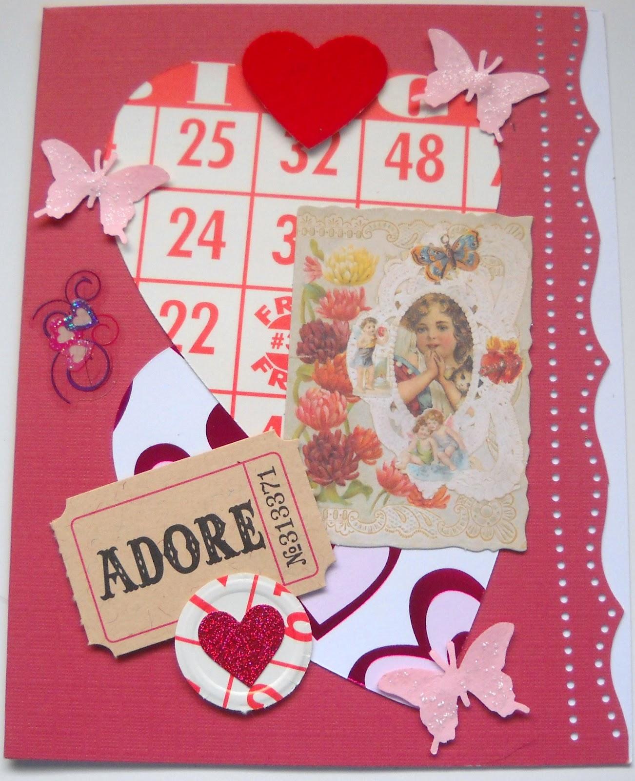 Janette Fuller Handmade Collage Valentine Card