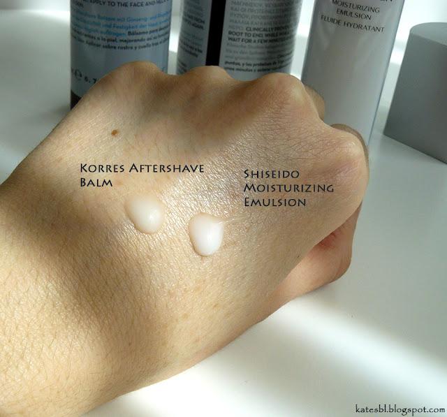 Shiseido Men Moisturizing Emulsion, Korres Aftershave Balm