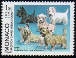 1986年モナコ公国 スコティッシュ・テリア ウエスト・ハイランド・ホワイト・テリア ダンディ・ディンモント・テリア スカイ・テリア ケアーン・テリアの切手