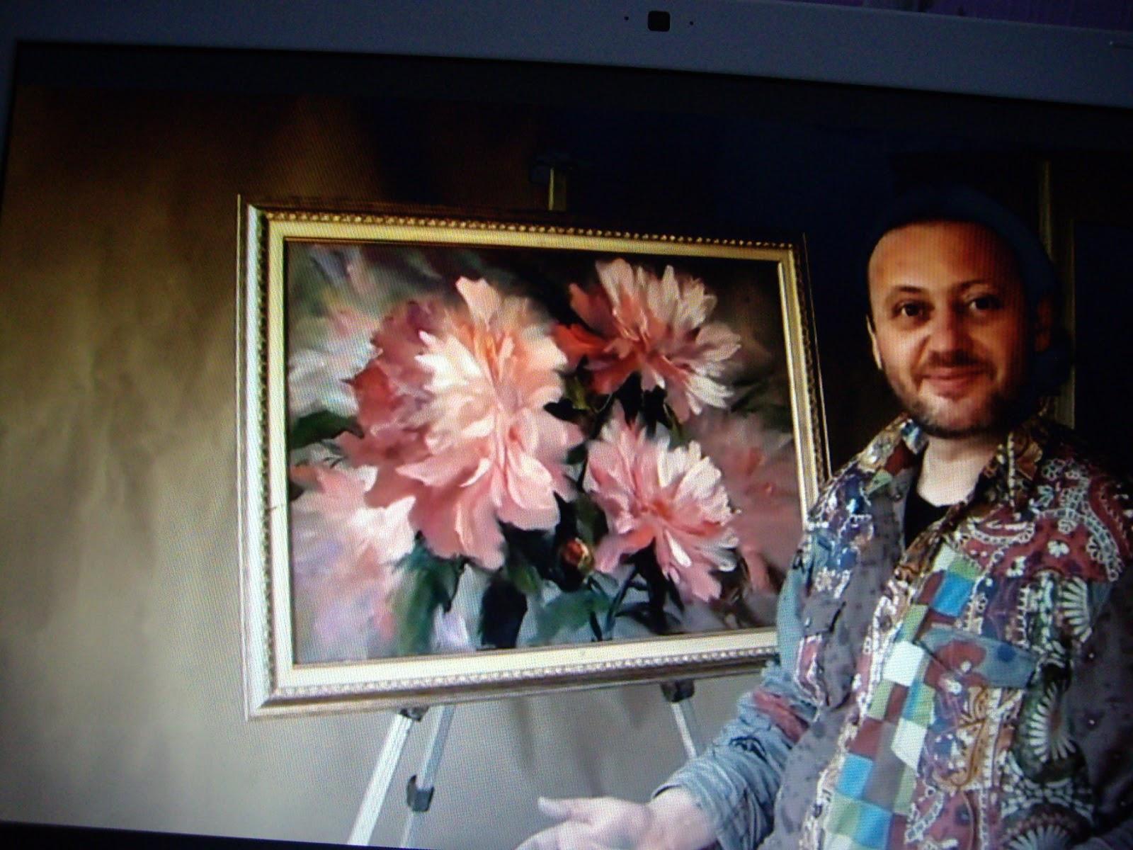 Atelier d 39 h l ne peindre des pivoines for Peinturer ou peindre