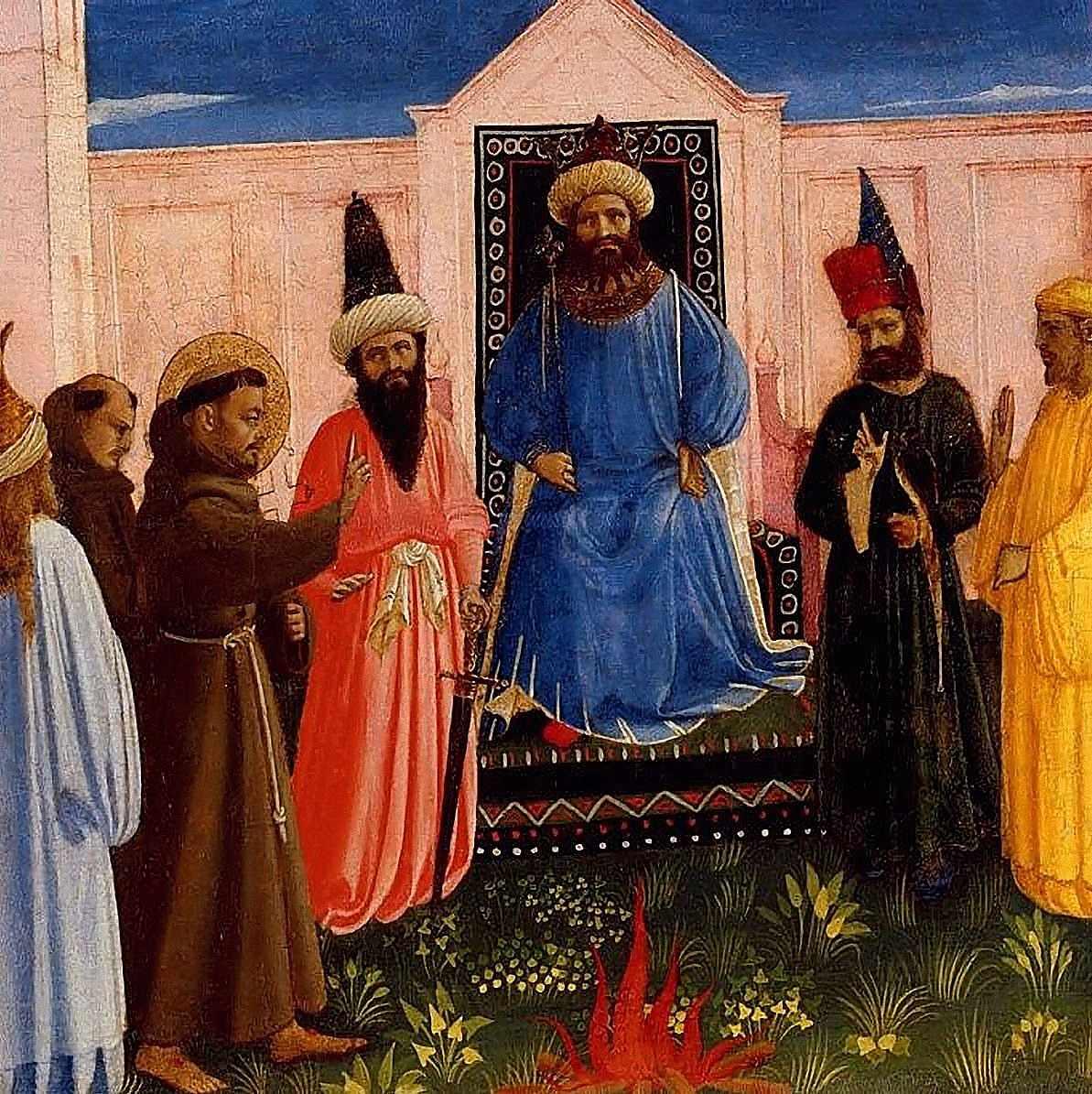 San Francisco de Asís participó de las Cruzadas  e intentó convertir al sultán de Egipto Bal-Malik Bal-Kamil. Fra Angelico, Lindenau Museum, Altenberg.