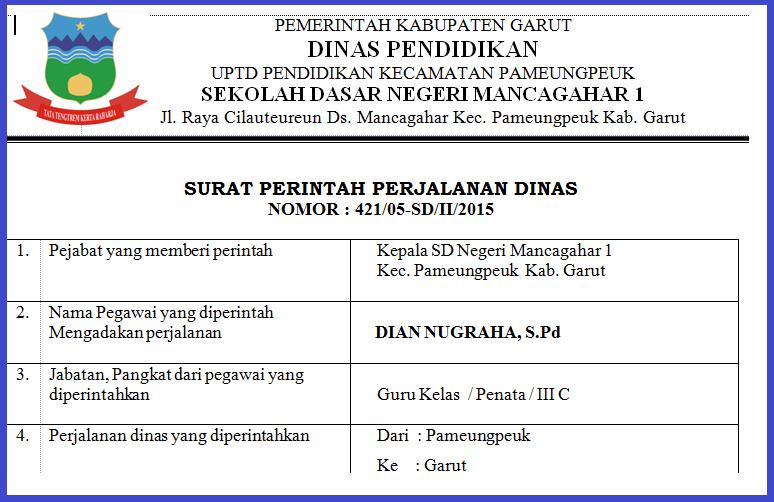Contoh Surat Perintah Perjalanan Dinas Sppd Nova Ardiyani