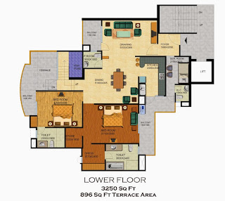 Emerald Court :: Floor Plans,Emperor Penthouse - Type A:-Lower Floor4 Bedrooms, 5 Toilets, Kitchen, Dining, Drawing, 4 Balconies, Servant Room With Toilet, Terrace Garden with Water Feature Area - 3250 Sq. Ft. 896 Sq. Ft. Terrace Area