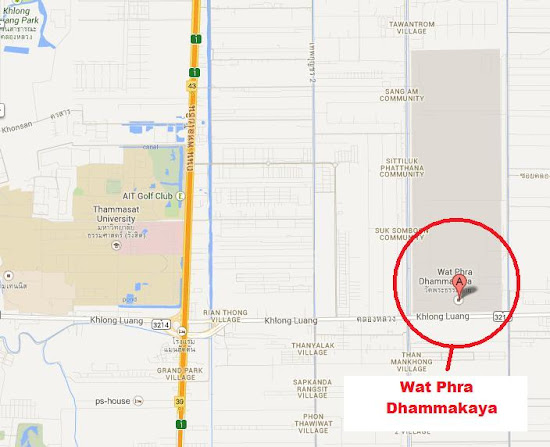 Vicinity map of Wat Phra Dhammakaya