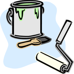 pot de peinture avec un pinceau et un rouleau