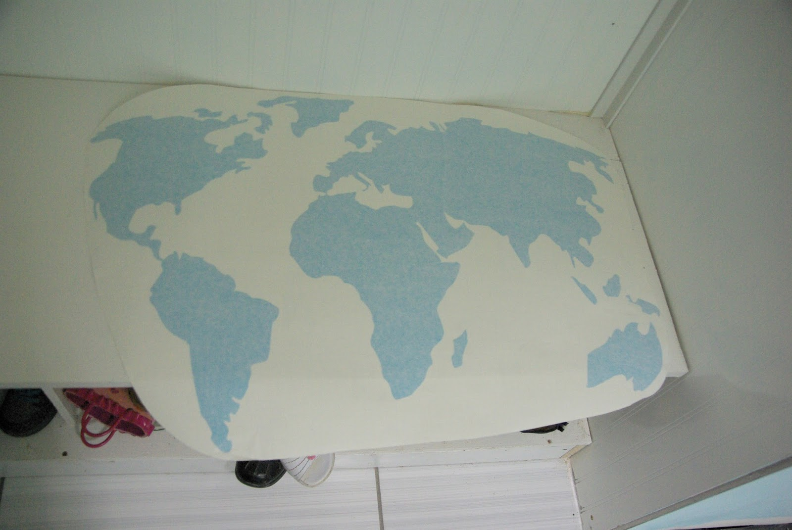 World map wall decal more additions to the organization station the wall decal was shipped to me and came in a round container so when it came out i had to lay it down flat over night to get it well flat amipublicfo Gallery