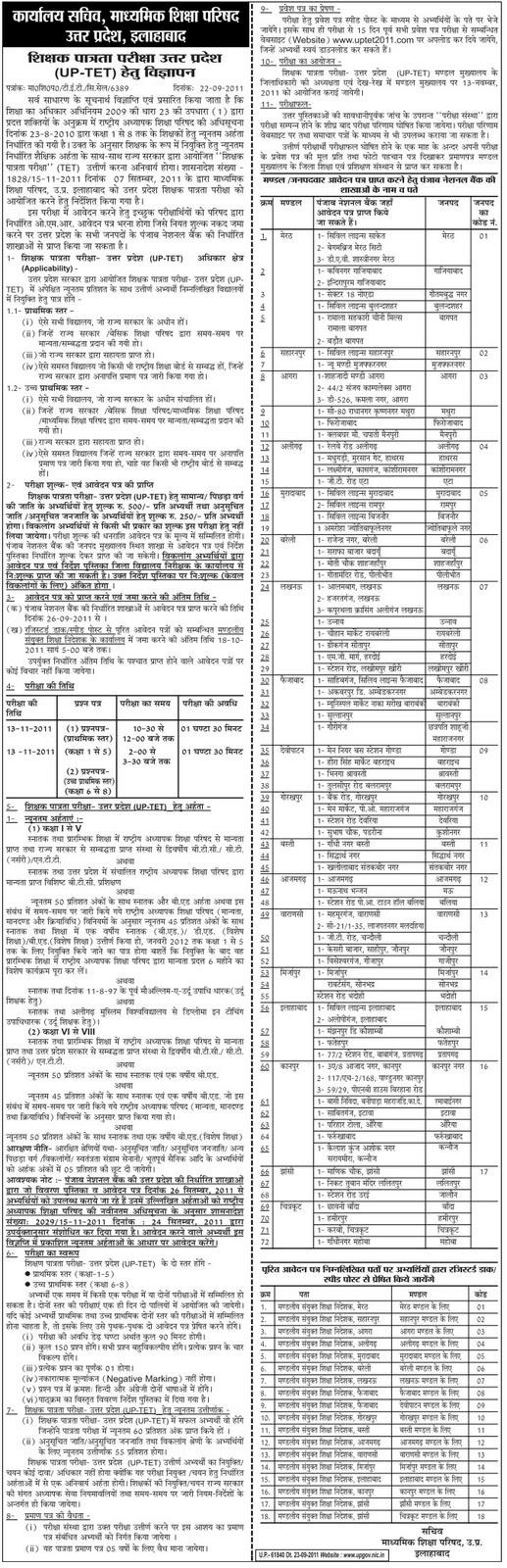 UP TET 2011 Exam Advertisement