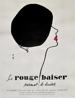 rené gruau rouge a levre rouge baiser affiche vintage
