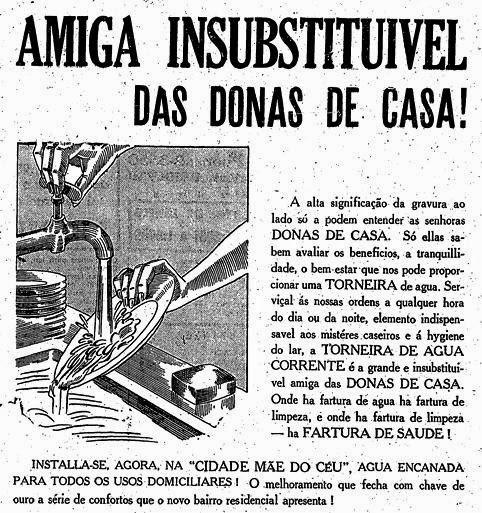 Água encanada: vantagem no investimento imobiliário em 1939