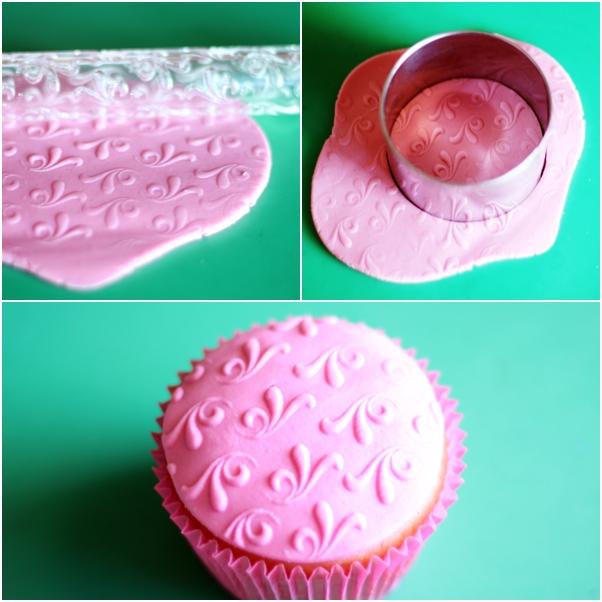 Decoração de cupcake usando molde de silicone