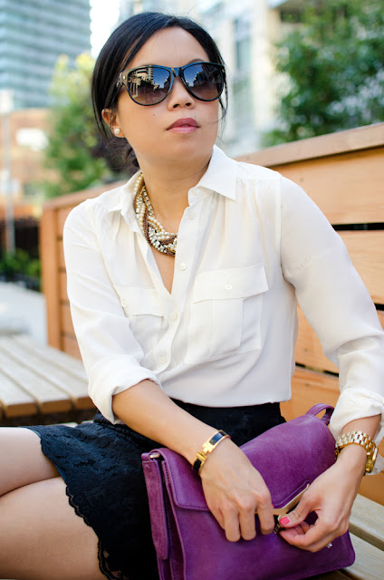 Black lace shirt, J.Crew Blythe, Joe Fresh, Botkier