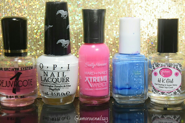 Duri Rejuvacote, O.P.I. Angel With A Lead Foot, Sally Hansen Xtreme Wear All Bright, Essie Avenue Maintain, Glisten & Glow HK Girl Fast Drying Top Coat
