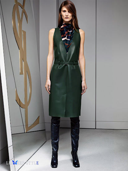 fashion, designer, Yves Saint Laurent, collection, photos, look book, leather, models, over-the-knee boots, leather dress