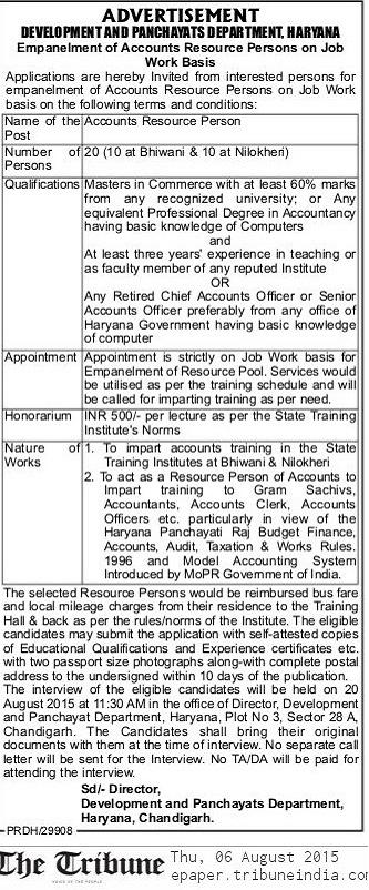 Development and Panchayat Department Haryana Recruitment