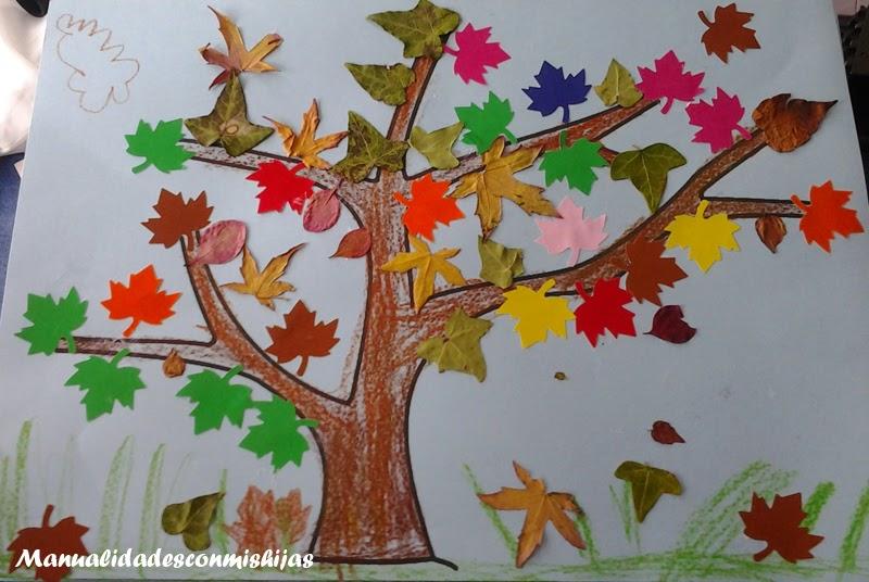 Manualidades con mis hijas rbol de oto o y sus hojas - Manualidades para el otono ...