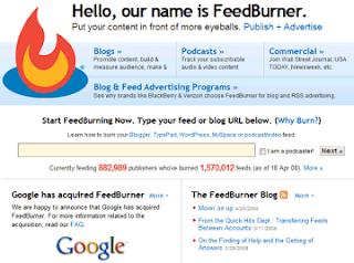 Cara mendaftarkan blog di feedburner