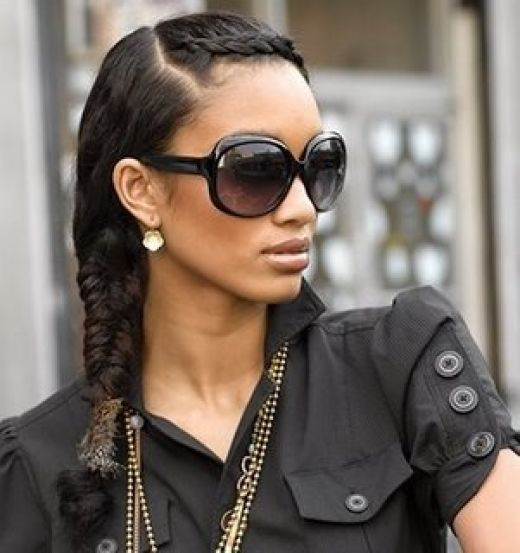 Cute Side Swept Plait Hair Style For Black Hair