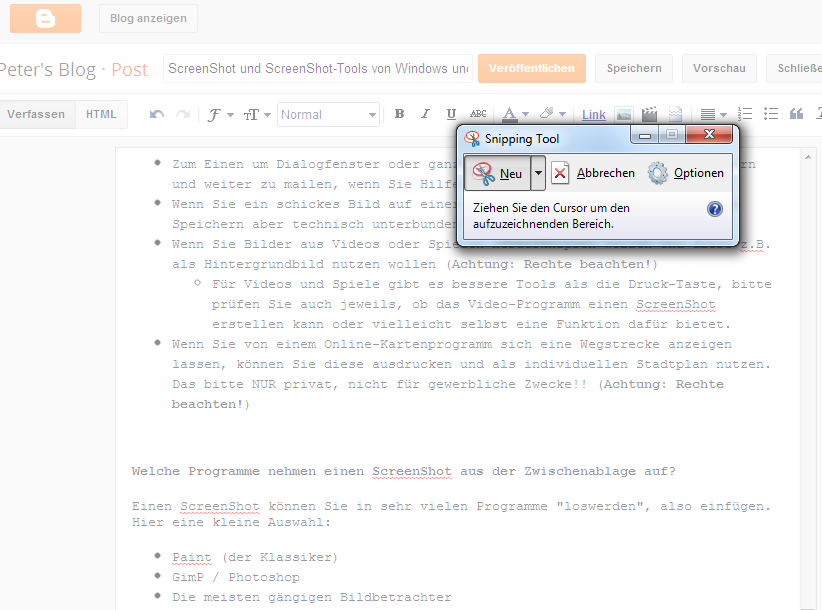 Windows Snipping Tool für Screenshots